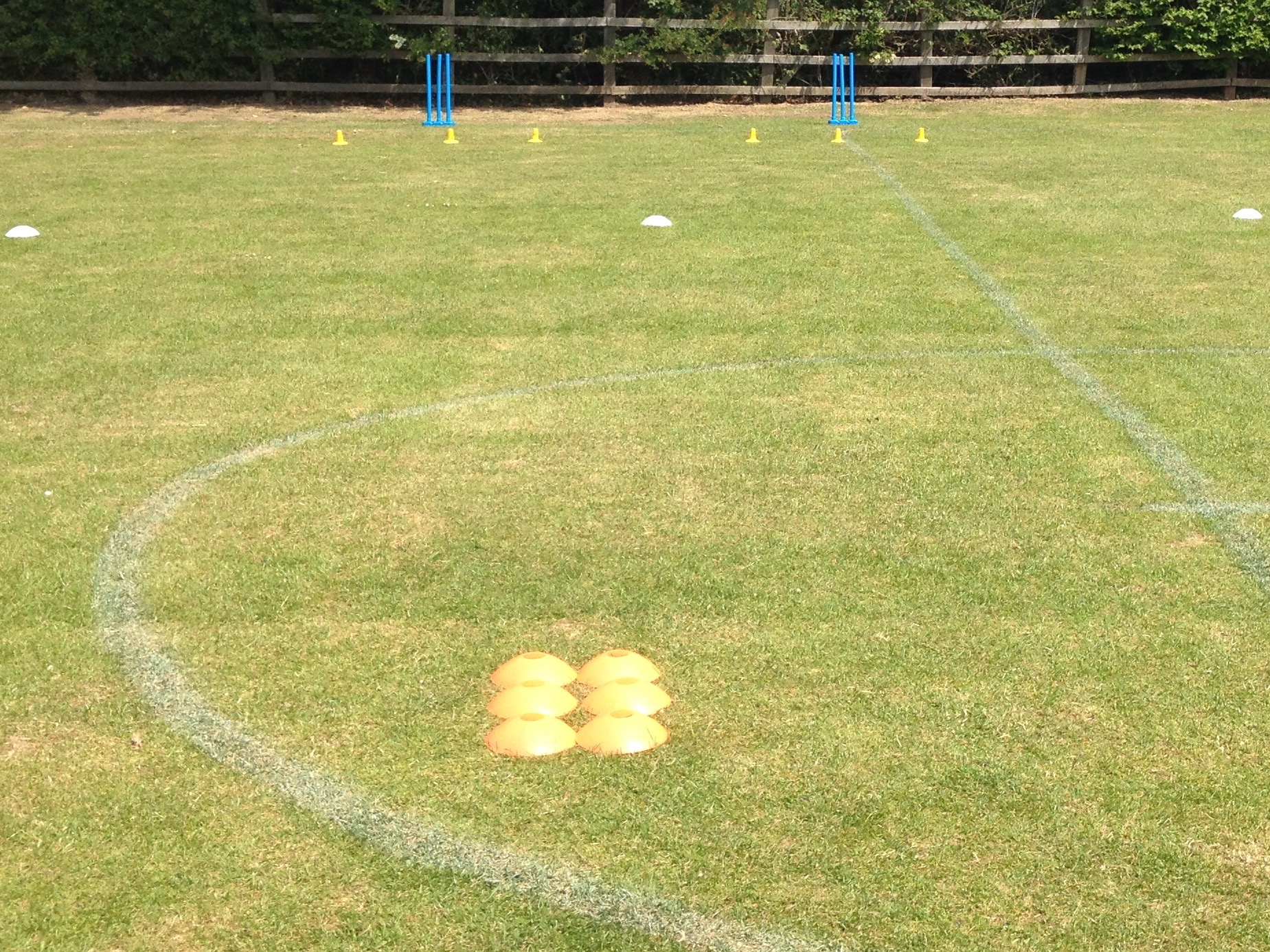 All set up for a Fun game of 3 tees cricket at Carlton Miniott School, Thirsk